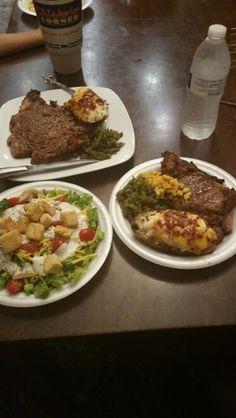 Steak, salad, green beans, corn & twice baked potatoes!