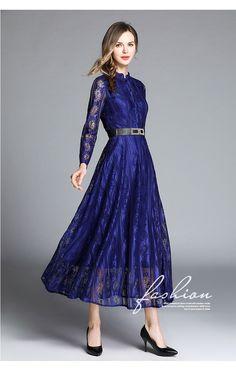 cba4cf819d6d Fleepmart fashion 2019 Black Blue Wine Red Long Lace Dress Vestidos Female  Women s O