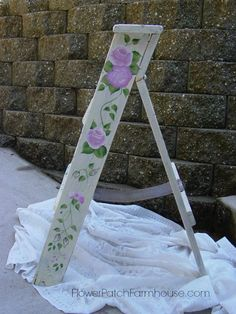 Ladder with Roses, FlowerPatchFarmhouse.com