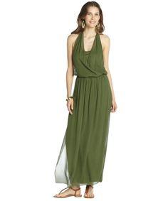 Alice & Olivia : deep ivy silk halter maxi dress