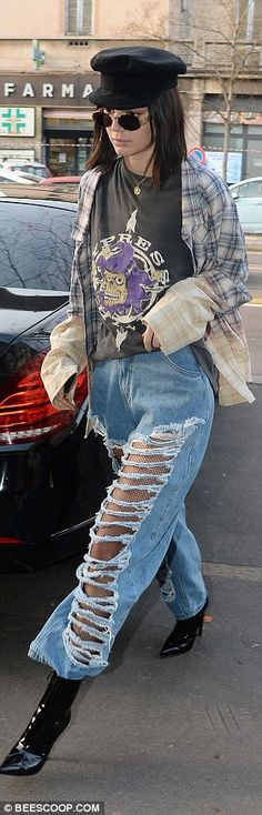Kendall Jenner, 21, looked every inch the grunge goddess as she headed out and about during Milan Fashion Week on Wednesday