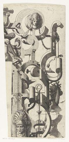 Johannes of Lucas van Doetechum | Fragment van de rechter bovenhoek van de grote cartouche, Johannes of Lucas van Doetechum, Hans Vredeman de Vries, Hieronymus Cock, 1558 - 1608 | De grote cartouche waar de fragmenten van afkomstig zijn, maakt deel uit van een serie van 3 bladen.