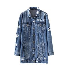 aa1b0192f72 iBaste Women Girls Denim Jean Jacket Long Sleeve Vintage Loose Ripped  Boyfriend Distressed Coat Denim Coat