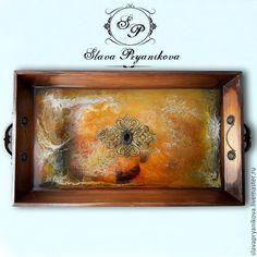 """Купить Поднос """"Про одну бабочку"""" - комбинированный, подарки ручной работы, подарки, прихожая, кухня"""