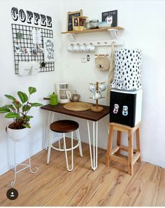 Small Home Remodel Designs Under 50 Square Meters - Di Home Design Small Kitchen Set, Simple Kitchen Design, Home Room Design, Small House Design, Coffee Bar Home, Coffee Corner, Diy Home Decor, Room Decor, Sweet Home
