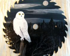 "Antique Hand Painted Saw Blades | Snowy Owl 7.25"" Hand Painted S aw Blade ..."
