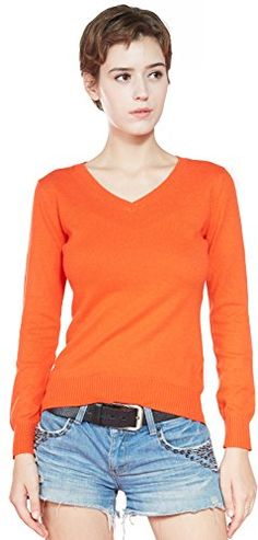 Liny Xin Women's 100 Cashmere Long Sleeve V-Neck Slim Fit Pullover Winter Sweater Tops