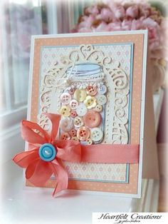 Mason Jar filled with Buttons, loads of luscious layered die cuts and papers tied up with a gorgeous bow ~ Andrea Ewen, EwenStyle. Pretty Cards, Cute Cards, Pot Mason, Mason Jars, Envelopes, Mason Jar Cards, Shabby Chic Cards, Button Cards, Ball Jars