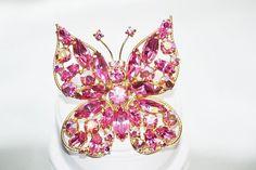 Vintage Regency Butterfly Pink Rhinestone Brooch by LustfulJewels