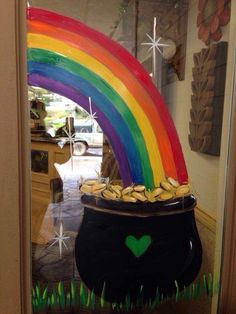 Let these St. Patrick's Day rainbow decoration ideas help you decorate your home for this irish festival. Patrick's Day decoration ideas here St Patrick's Day Decorations, Rainbow Decorations, Saint Patrick, Store Front Windows, St. Patricks Day, Crafts For Kids, Diy Crafts, Bulletins, Rainbow Painting