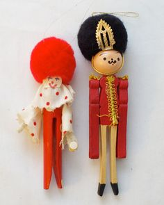Vintage Handmade Clothespin Clown And Nutcracker Christmas Ornaments (Set of 2)