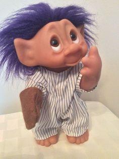 "Thomas DAM Baseball Catcher Troll Doll 10"" Purple Hair with Uniform  Mitt 1977 #Dam #DollswithClothingAccessories"