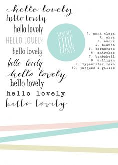 pretty fonts (most not free) - for future reference Cute Fonts, Fancy Fonts, Pretty Fonts, Beautiful Fonts, Awesome Fonts, Typography Love, Typography Letters, Vintage Typography, Calligraphy Fonts