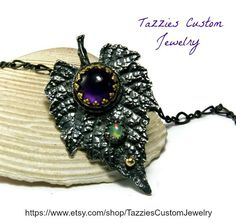 Amethyst Grape Leaf Pendant, Opal Gemstone, Sterling Silver and Yellow Gold Necklace, Artisan Jewelry