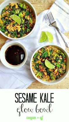 Sesame Kale Glow Bowl - vegan + gf - Simple, nourishing, flavorful and filling - 20 minutes to throw together! From The Glowing Fridge (sub chicken for tempeh? Vegetarian Recipes, Cooking Recipes, Healthy Recipes, Soy Ginger Sauce, Clean Eating, Healthy Eating, Quinoa Salad, Quinoa Bowl, Kale Salad