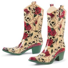 Whoa! Rain won't stop these cowgirl-styled, skull-and-rose-printed rain boots!