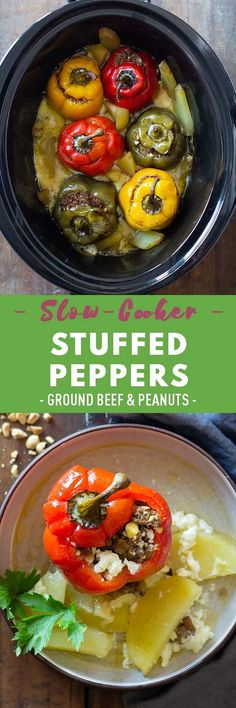 These unique slow-cooker stuffed peppers are filled with ground beef and veggies with the surprise ingredients of hard-boiled eggs and raisins. Make this recipe mild or spicy to suit your preference. Healthy Recipes On A Budget, Vegetarian Recipes Dinner, Healthy Cooking, Dinner Recipes, Healthy Eating, Cooking Recipes, Crockpot Recipes, Yummy Recipes, Stuffed Peppers Ground Beef