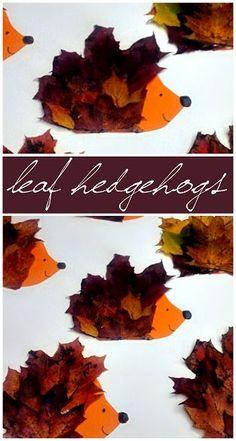 Make a Hedgehog Craft Using Leaves #Fall Craft for kids to make! #Leaf art project | CraftyMorning.com