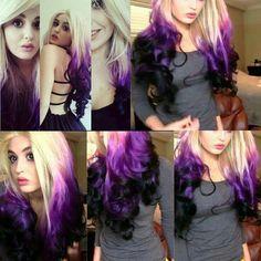 New hair color purple roots dip dye Ideas Pretty Hair Color, Hair Color Purple, Hair Dye Colors, Purple Ombre, Black Ombre, Purple Tips, Color Black, Twisted Hair, Dip Dye Hair