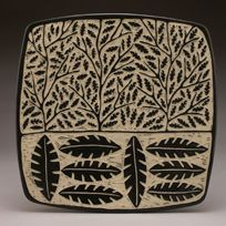 """""""Branch and Leaf"""" Square plate.  Porcelain with sgraffito by Jennifer Falter Springfield Pottery, Springfield, Mo."""