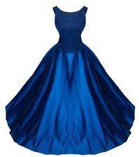 Full Sweep Blue Satin Formal Ball Gown Dress