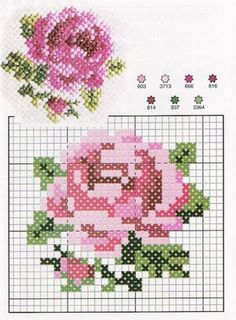 Rose Cross Stitch Pattern with thread key on Evdeas at http://www.evdeas.com/2013/10/carpi-isi-gul.html