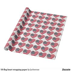 US flag heart wrapping paper
