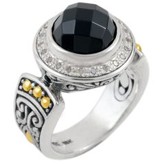 Dress up your best Little Black Dress with a Little Black Ring! Black Onyx an d Diamond Sterling Silver Ring with 18K Gold Accents