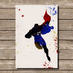 Superman Man of Steel watercolor illustrations art comic book wall art art home decor movie poster on Etsy, $15.00
