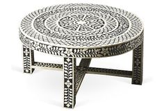 "Devin Cocktail Table on OneKingsLane.com | bone inlay | 33""dia x 18""h 