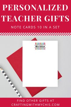 Personalized teacher note cards, teacher gift, end of year gift, personalized note cards Personalized Teacher Gifts, Great Teacher Gifts, Personalized Note Cards, Personalized Stationery, Teacher Cards, Teacher Notes, Advertising And Promotion, Promote Your Business, Love To Shop