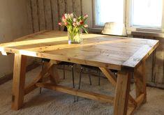 A-mallin jaloilla lankkupöytä rustiikkikäsitellyllä pinnalla Dining Table, Rustic, Classic, Modern, Furniture, Home Decor, Homemade Home Decor, Diner Table, Dinning Table Set