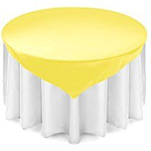"""Lann's Linens - Satin Overlay Table Topper - 72"""" Square Tablecloth Cover for Wedding, Reception or Party - Yellow"""