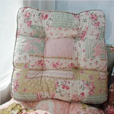 Gentil Shabby And Vintage Patchwork Like Soft Chair Pad W Filling 122