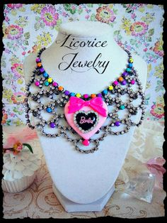 Couture Fashion DOLL Colored Rhinestone BiB by LicoriceJewelry, $85.00