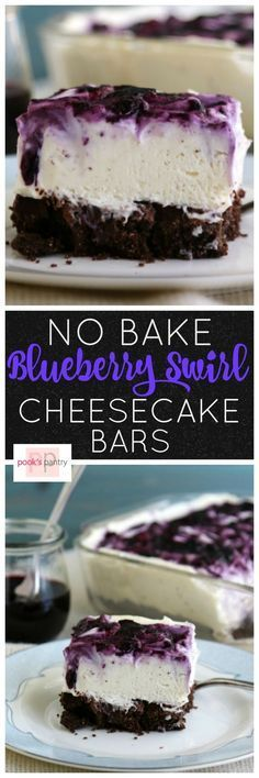 Super creamy, silky smooth filling swirled with fresh blueberry sauce make these no bake bars as pretty as they are delicious.