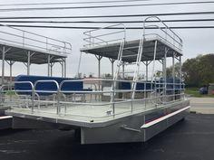 Pontoon Boats | Solid Craft Boats Slide Design, Deck Design, Pontoon Boat Seats, Party Barge, Aluminum Decking, Cruise Boat, Unique Flooring, Double Deck, Water Slides