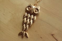 Movable Gold Owl Necklace Antique Owl Jewelry Long by FreshyFig
