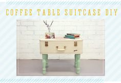 Materials:  -Vintage suitcase  -4 Table legs  -8 Flat washers + 4 Wing nuts  -Power drill  -Paint + Paint brush  -Measuring tool (yard stick, measuring tape, etc.)              Directions:  1. Measure out where you want to position the table legs and mark it on the surface of the suitcase.