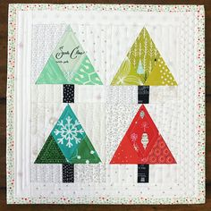 Tinsel Trees Quilt Block Christmas Tree Paper Pieced Block