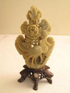 ( early century carved jade phoenix bird and chrysanthemum) Chinese Figurines, Phoenix Bird, Bird Statues, Soapstone, Jade, Lion Sculpture, Carving, Chrysanthemum, Antiques