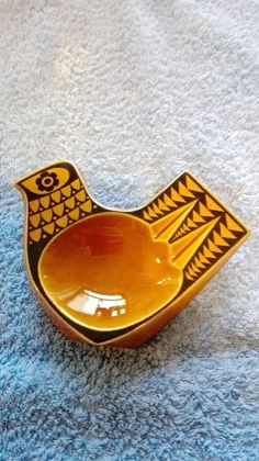 Hornsea Amber Bird Spoon Rest / Ashtray 1960 s by John Clappison