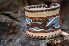 Leather bracelet Deer folk ornament celtic fantasy  #leather #bracelet #handmade #carving #celtic #fantasy