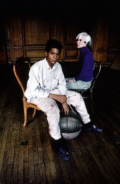 Richard Schulman: Another shot of Andy Warhol and Jean-Michel Basquiat, shot in Jean Michel Basquiat, Andy Warhol, Robert Rauschenberg, Keith Haring, Radiant Child, Hokusai, David Hockney, Arte Pop, Cultura Pop