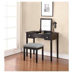 Linon Kayden Vanity Set - Black : Target $127