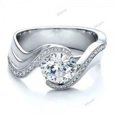 Round Cut Diamond 10K White Gold Fn Women's Engagement Promise Ring Sz 5-12  #affordablebridaljewelry #SolitairewithAccents #WeddingAnniversaryEngagement