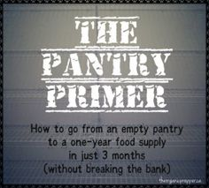 The Pantry Primer: How to Build a One Year Food Supply in Three Months -- This is a short article, but she links to all of her previous prepping articles.