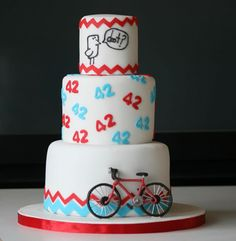 Anniversary cake with gumpaste bicycle