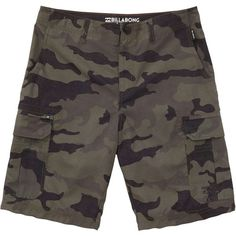337741933a Billabong Unisex Scheme Submersibles ($60) ❤ liked on Polyvore featuring  military camo, walkshorts and billabong