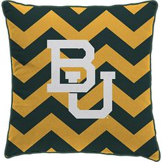 Baylor University BU green and gold chevron pillow